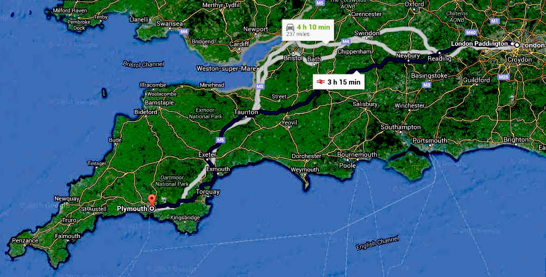 Travel map London to Plymouth city