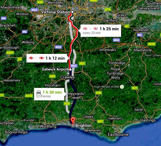 Road map London to Brighton