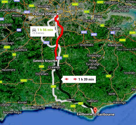 Road route map London to Eastbourne