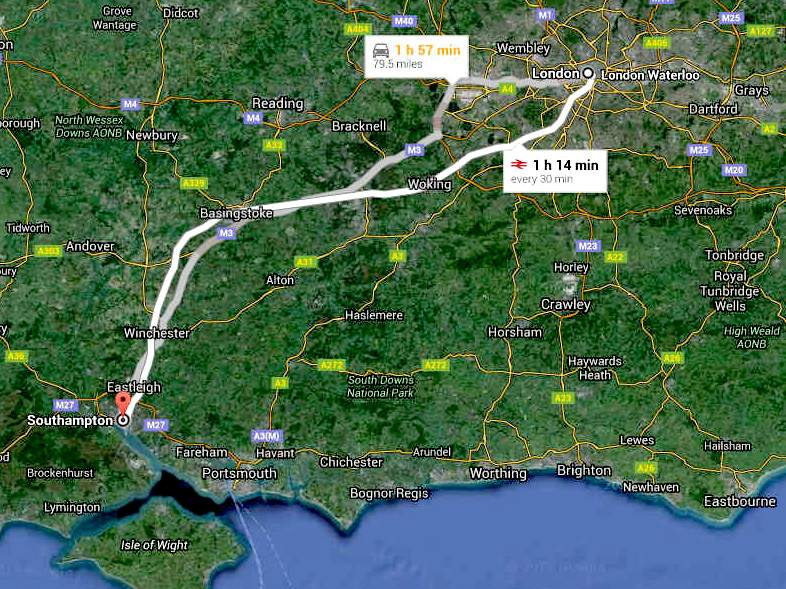 Road and train route map London to Southampton