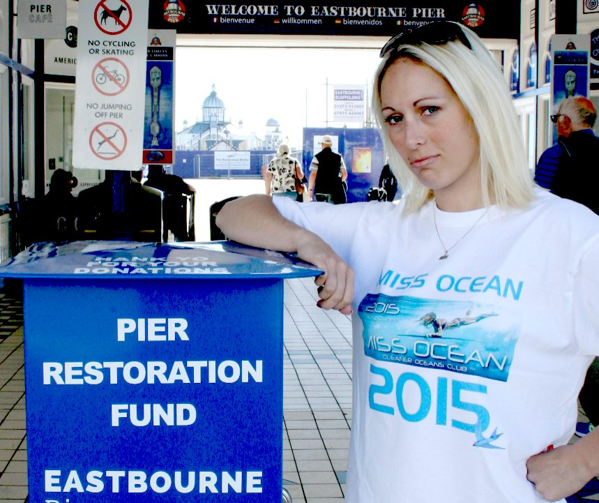 Pier restoration fund collection box at Eastbourne